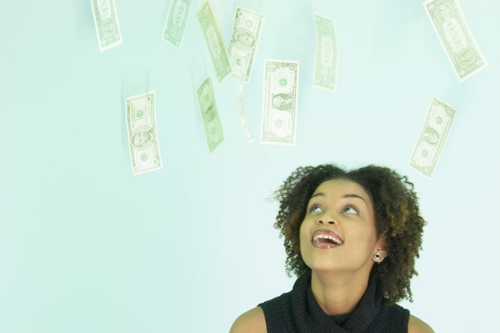 Woman and Money Raining